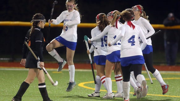 Bronxville celebrates a goal against Pawling during