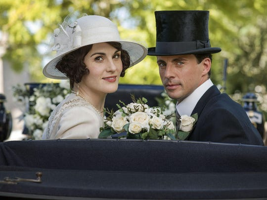 "Michelle Dockery as Lady Mary, left, and Matthew Goode as Henry Talbot in a scene from ""Downton Abbey."""