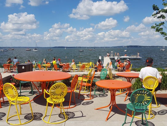 Colorful sunburst chairs and tables are a hallmark