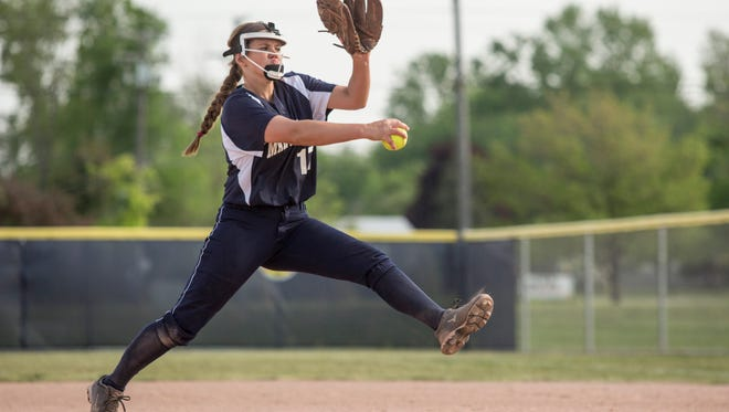 Marysville's Paige Ameel throws a pitch during a softball game Thursday, May 26, 2016 at Marysville High School.