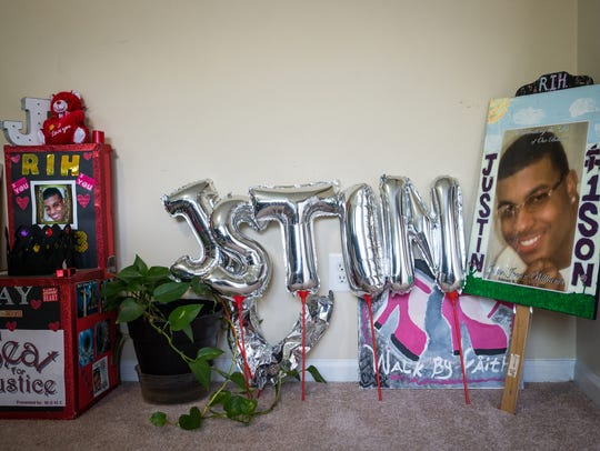 Various items to memorialize Justin Williams, who was