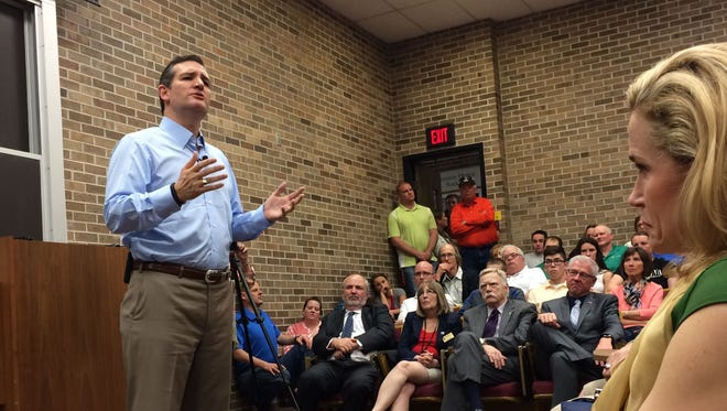 Presidential candidate Sen. Ted Cruz, R-Texas, speaks at a town hall forum Wednesday at Morningside College in Sioux City.