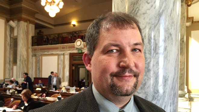 Rep. Rob Cook, R-Conrad, gears up for the fight Thursday on Sen. Ed Buttrey's Medicaid expansion bill. He carried the bill through numerous amendment attempts.