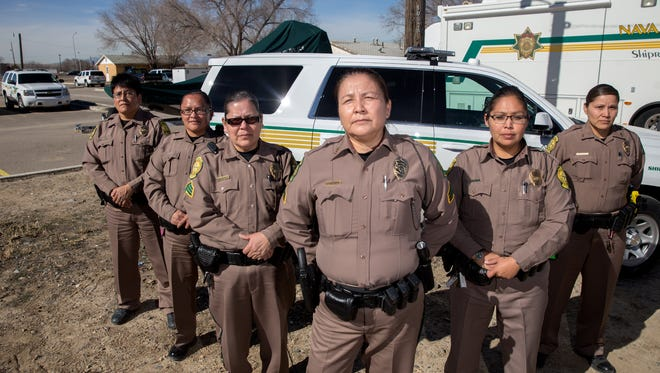 Officer LoJann Dennison, left, Officer Darlene Foster, Sgt. Vera Nelson, Sgt. Shirley Sanisya, Officer Felicia Freeman and Officer Kansas Antone are among the women who serve in the Navajo Nation Police Department's Shiprock district.