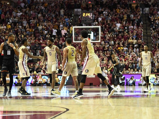 The FSU Seminoles celebrating during the last minutes of Overtime on Saturday.