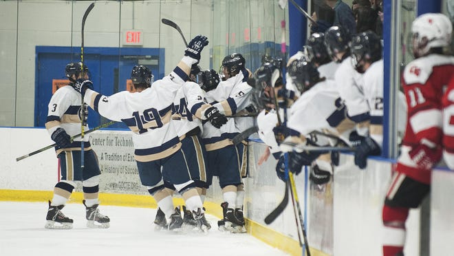 Essex celebrates a goal during the boys hockey game against Champlain Valley at the Essex Skating Facility on Jan. 28.