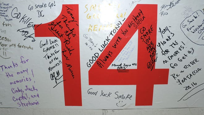 A view of pit wall tributes left by fans to Tony Stewart, driver of the No. 14 Mobil 1/Chevy Summer Sell Down Chevrolet, prior to the Brickyard 400.