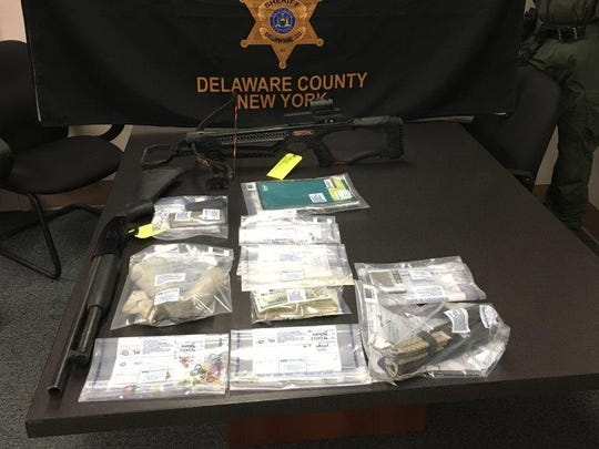 Evidence seized during a drug raid in Deposit on Friday, Feb. 10, 2017.