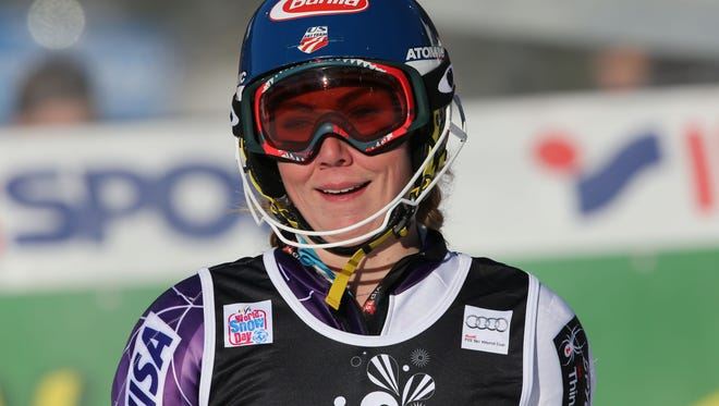 Mikaela Shiffrin of the United States smiles in the finish area after winning an alpine ski, women's World Cup slalom in Sljeme, Zagreb, Croatia, Sunday.