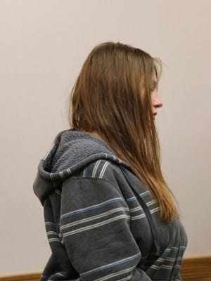 Angela Marie Alexie 24, is arraigned at Eastpointe's 38th District Court on Jan. 28, 2015 in connection with the death  of her infant son, whose body was found in waste at a recycling center.