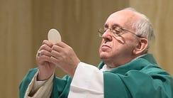 Pope Francis celebrates mass in Santa Marta at the