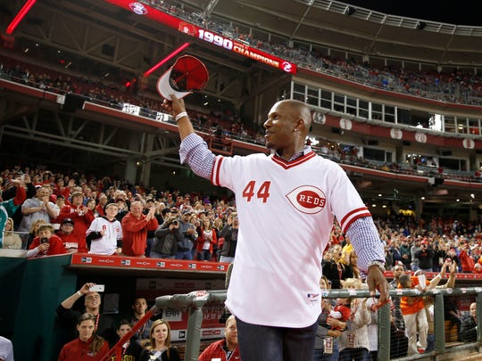 Former Reds outfielder Eric Davis recognizes the crowd