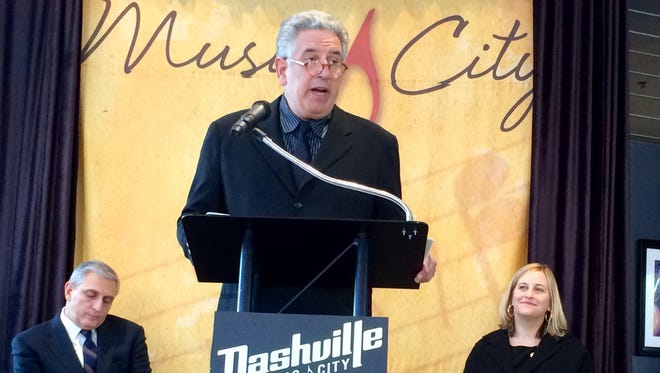 Nashville Convention & Visitors Corp. CEO Butch Spyridon, NCVC board chairman and veteran music manager Ken Levitan and Mayor Megan Barry touted Nashville as a top global destination at a news conference Thursday.