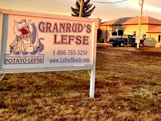 Granrud's Lefse factory just outside Opheim glows in