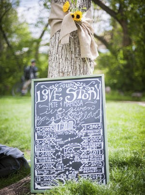 Marissa DeMercurio's hand drawn and painted chalkboard tells a visual story of the timeline of the couple's relationship from meeting until marriage.