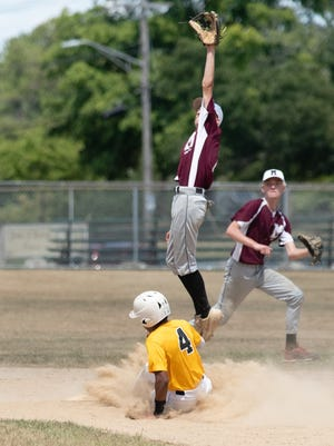 A high throw enables the Worcester Knights' Colin Johnson to steal second base.