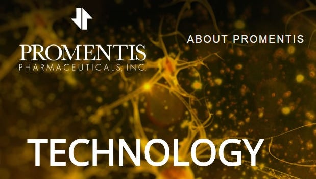 A screen shot of a portion of the Promentis Pharmaceuticals website.