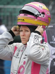 Dale Coyne Racing IndyCar driver Pippa Mann (63) during practice for the Indianapolis 500 Friday, May 19, 2017, afternoon at the Indianapolis Motor Speedway.