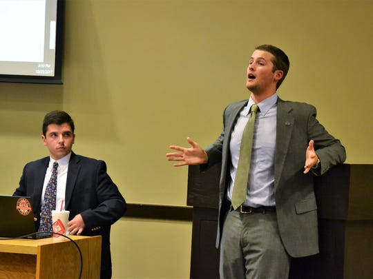 Miller Hoffman, a Clemson University student senator, introduced a motion to hear the articles of impeachment to oust student government vice president Jaren Stewart on Monday.