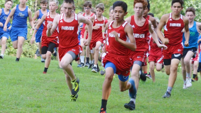 Fairview Middle School boys lead the pack as they compete in cross country meet at Bowie Nature Park.