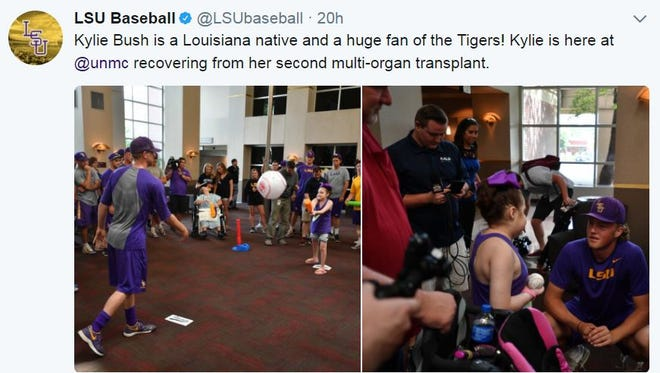 Kylie Bush of Pineville was among the pediatric patients at Nebraska Medicine visited by the LSU baseball team Thursday.