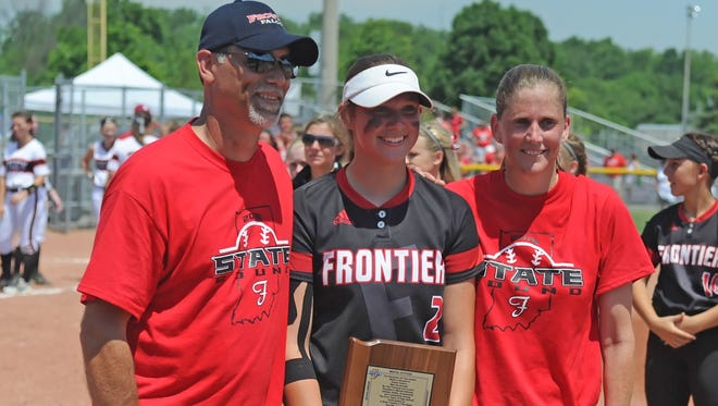 Frontier senior pitcher Savanna Harrison won the IHSAA's Class A Mental Attitude Award on Saturday, June 11, 2016. The Falcons lost to Borden in the state championship game.