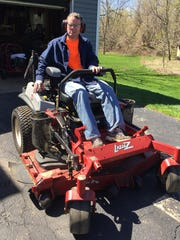 """Kevin Flannery heading out to mow his grass for the first time after being shot. """"What are the chances anything like that ever happens again,"""" he says."""