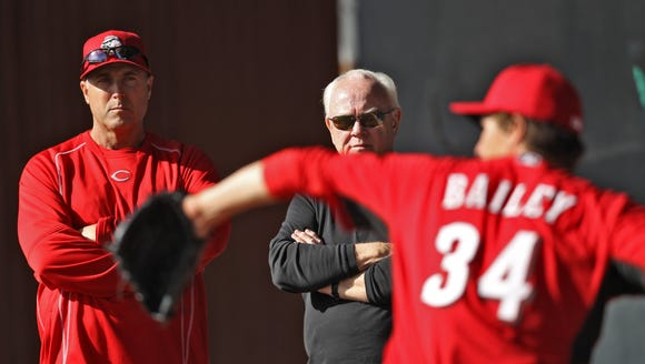 Reds manager Bryan Price, left, and general manager