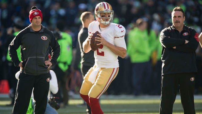 Nov 22, 2015: San Francisco 49ers quarterback Blaine Gabbert (2) warms up before a game against the Seattle Seahawks at CenturyLink Field.