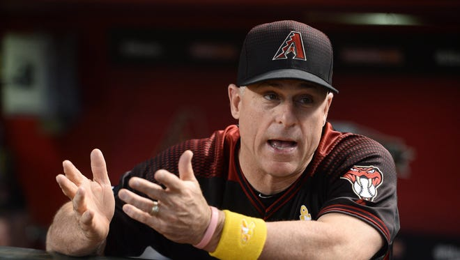 Sep 17, 2016: Arizona Diamondbacks manager Chip Hale (3) looks on from the dugout prior to the game against the Los Angeles Dodgers at Chase Field.