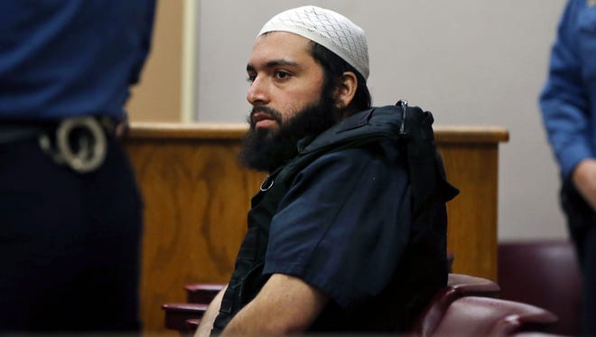 Ahmad Khan Rahimi, accused of setting off bombs in New Jersey and New York in September, injuring more than 30 people, in court in January.