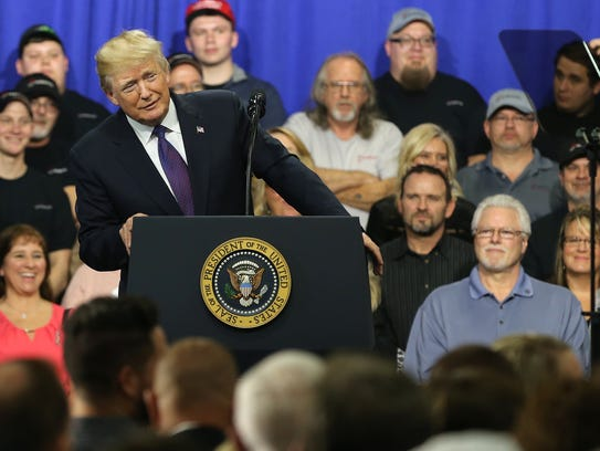 U.S. President Donald Trump tours and speaks at Sheffer