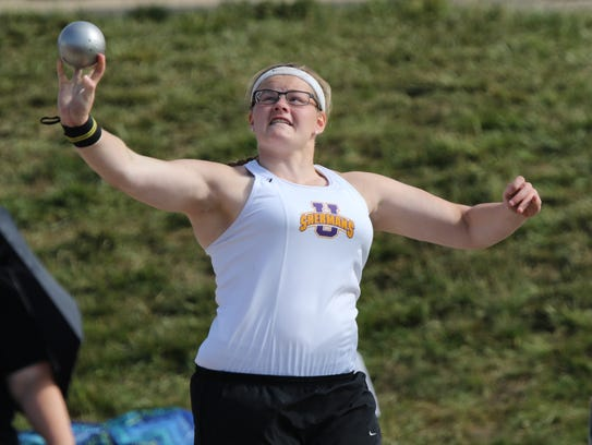 Uniontown Sherman's Autum Mohan competes in shot put
