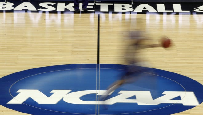 An NCAA basketball court is pictured in Pittsburgh on Nov. 19, 2015.