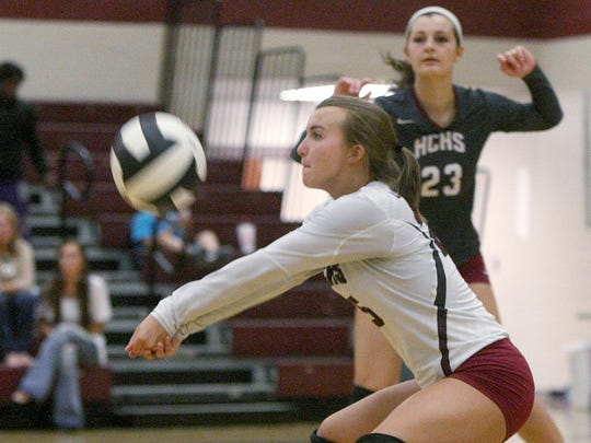 Hardin County's Katie Beth Tennison digs the ball in a match last week.