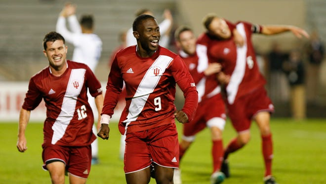 Indiana's Rashad Hyacenth (9) celebrates his goal with teammate Austin Panchot (12) during a college soccer game against Kentucky, Wednesday, Oct. 11, 2017 in Bloomington, Ind. (Jeremy Hogan/The Herald-Times via AP)