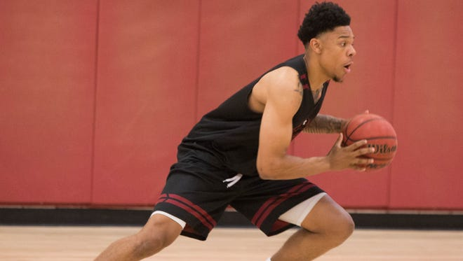 Zach Lofton, during the Aggies first official day of basketball practice at the Pan American Center. Friday September 29, 2017.