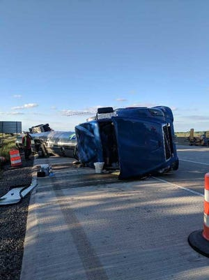 "The driver of a semi truck told police she had a ""sneezing fit"" before the truck rolled over on I-65 in Lake County on June 3, 2018."