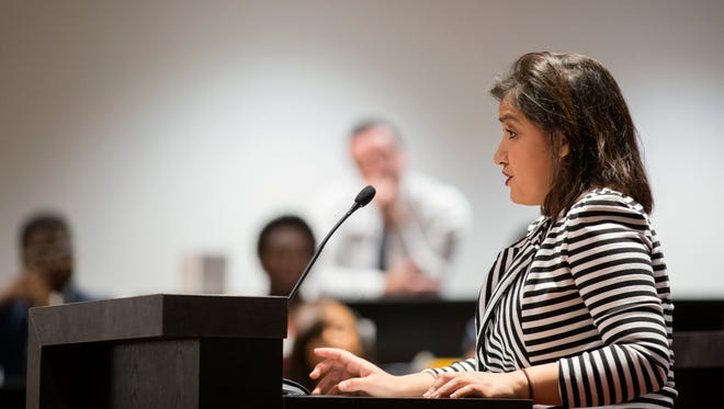 Monica Villa Meza speaks in front of the Missouri State University Board of Governors on Friday, Dec. 11, 2015.
