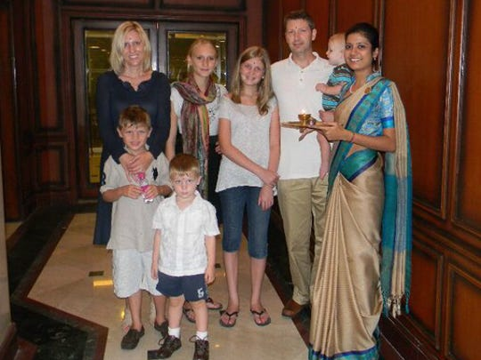 """Jennifer Hillman-Magnuson, her husband and Robert and five children ages 1 to 14 moved to Chennai, India, in 2010. The family's move is the subject of Jennifer's memoir, """"Peanut Butter and Naan."""""""