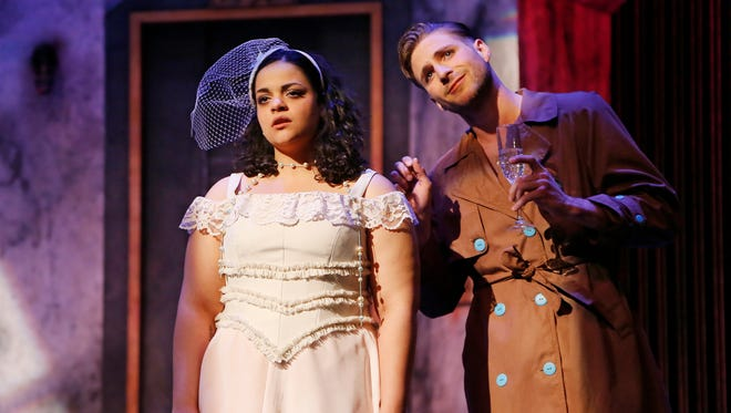 """Chelsee Carter as Eurydice and Eric Emerick as Nasty Interesting Man in a scene from Purdue Theatre's production of """"Eurydice"""" Tuesday, April 12, 2016, at Hansen Theatre."""