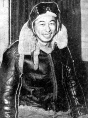 This undated photo provided by Ben Kuroki shows him in his flying gear. Kuroki, the only Japanese American known to have flown over Japan during World War II, died Sept. 1 at age 98.