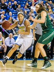 Delaware's Sade Chatman drives past William & Mary's Abby Rendle in the second half of Delaware's 60-49 loss to the College of William & Mary at the Bob Carpenter Center in Newark on Monday afternoon.