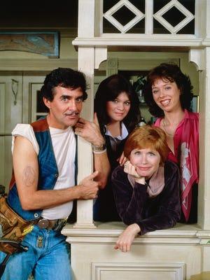 'One Day at a Time' cast Ann Romano (Bonnie Franklin, lower right) Julie (Valerie Bertinelli, center) and Barbara Cooper (MacKenzie Phillips, upper right) Dwayne Schneider (Pat Harrington Jr., left).