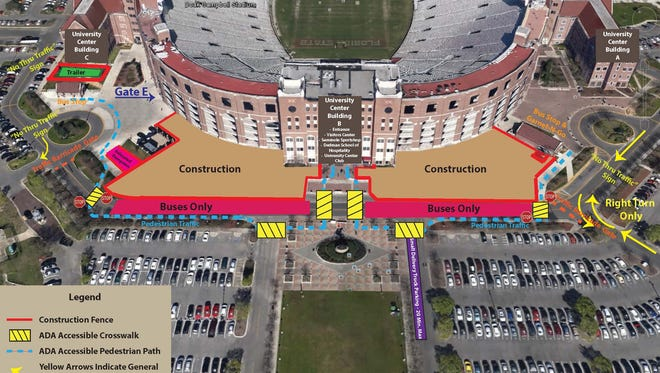 While Doak Campbell Stadium is undergoing construction, Champions Way is closed.