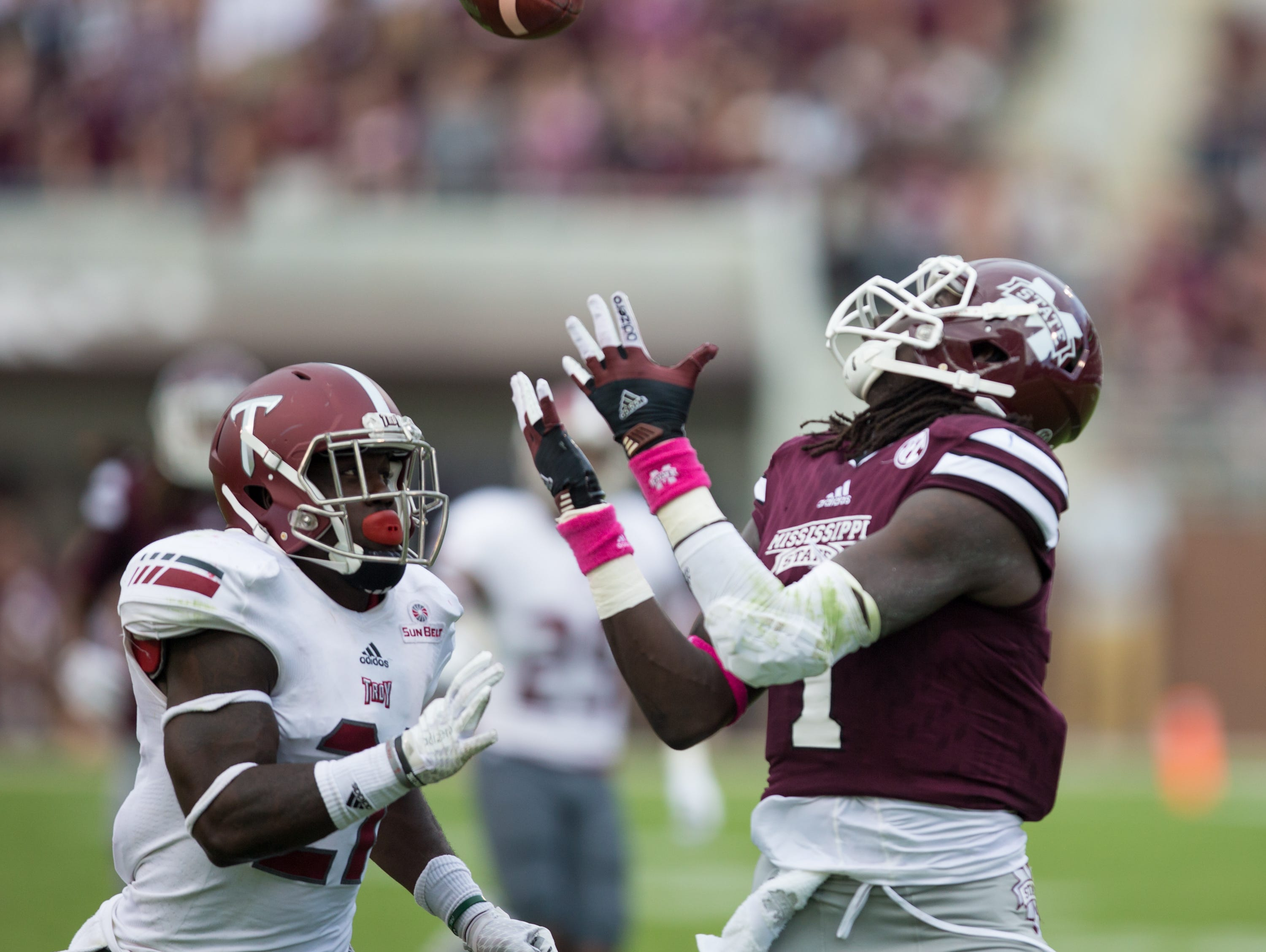 Mississippi State receiver De'Runnya Wilson (1) makes a catch near the goal line. Mississippi State played Troy in a college football game on Saturday, October 10, 2015 at Davis Wade Stadium in Starkville. Photo by Keith Warren (Mandatory Photo Credit)