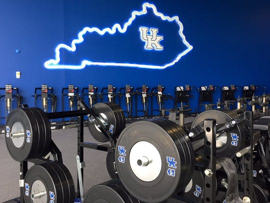 UK's new football training center opened in time for the 2016 season. A 15,000-square-foot weight room dominates much of the first floor of the $45 million facility.