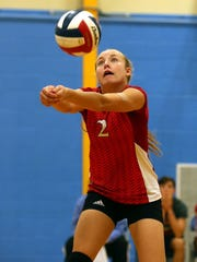 Miles Lady Bulldog Skyler Brooks returns the ball against the Wall Lady Hawks during the 2016 Nita Vannoy Memorial Volleyball Tournament  Shot/Archived:08.19.16
