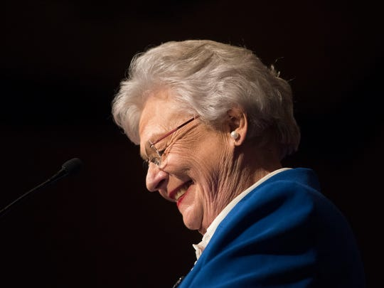 Alabama Gov. Kay Ivey speaks following her win in the Republican primary election Tuesday, June 5, 2018, during her return watch party at the Renaissance Hotel in Montgomery, Ala. (Julie Bennett/Montgomery Advertiser)