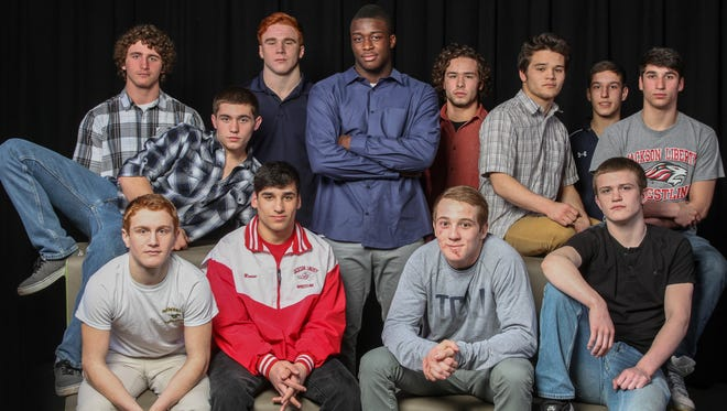 The 2014-15 Asbury Park Press All-Shore Wrestling Team of (front) Gianni Ghione, Matt Russo, Matt Wilhelm and Owen McClave; (back row) Dean Sherry, Kyle Wojtaszek, Mike Siwizc, Tyree Sutton, Cliff Ruggiero, Marcus Iwama, Richie Koehler and Mike Russo. Missing from photo: Alec Donavan and Nick Rivera.